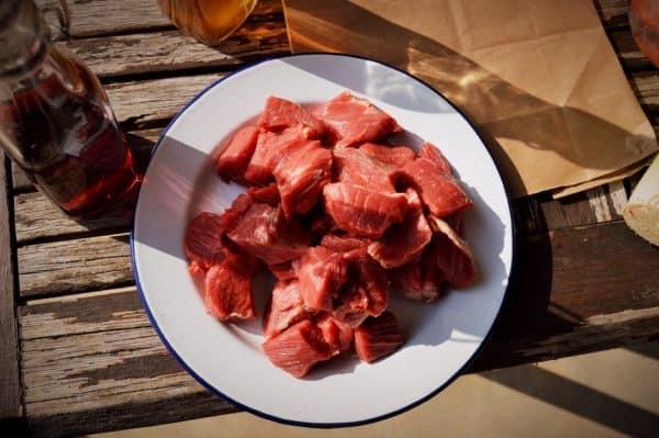 Diced grass fed beef
