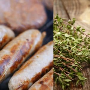 Beef sausage with thyme